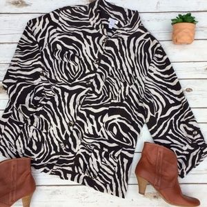 Chico's Animal Zebra Print Jacket or Top Size 2